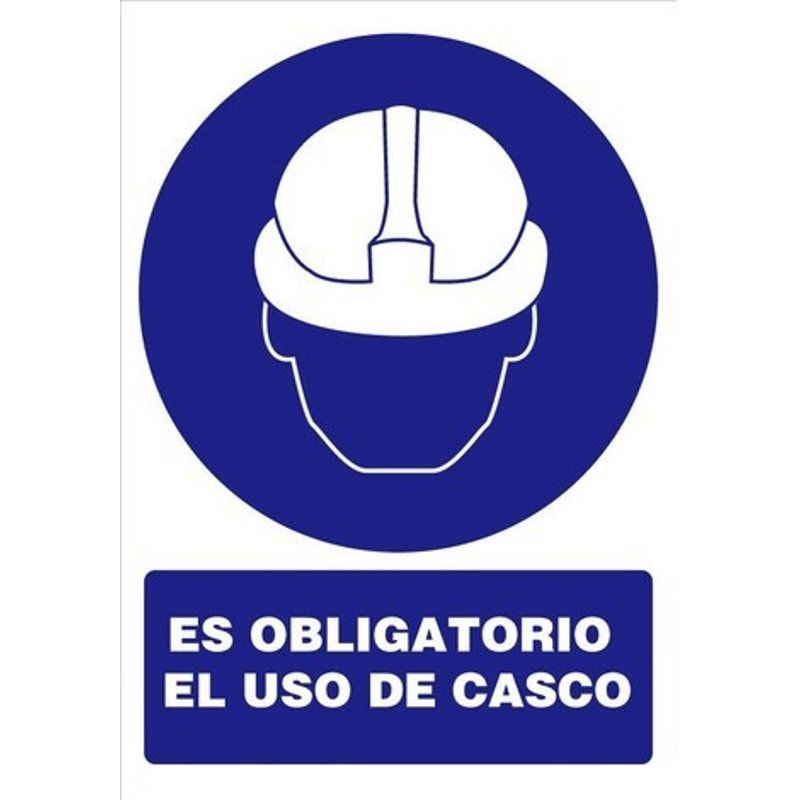 SEÑAL ADHESIVA OBLIGATORIO USO CASCO 110x70mm. (1u.)